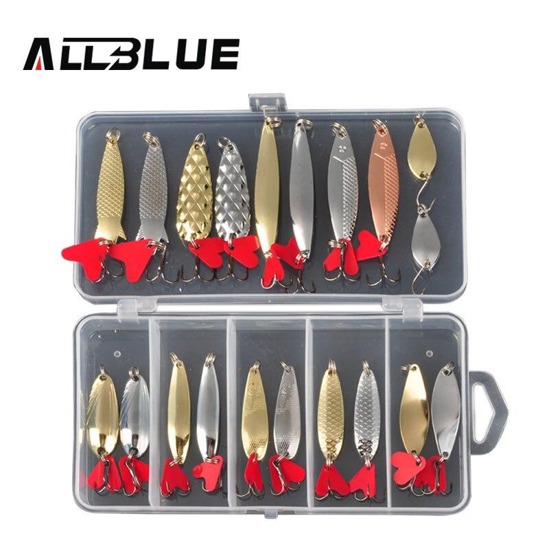 ALLBLUE colores mezclados Señuelos de Pesca cuchara cebo de Metal señuelo Kit de iscas artificias cebo duro agua fresca bajo Pike pesca geer