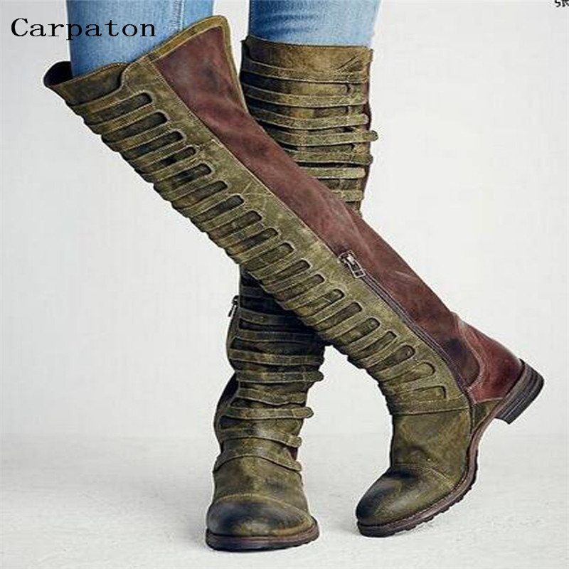 Women Over-The-Knee Round Toe Boots Ladies Flat Heel Patchwork Design Vintage Shoes Female Roma Style Long Boots Street Style