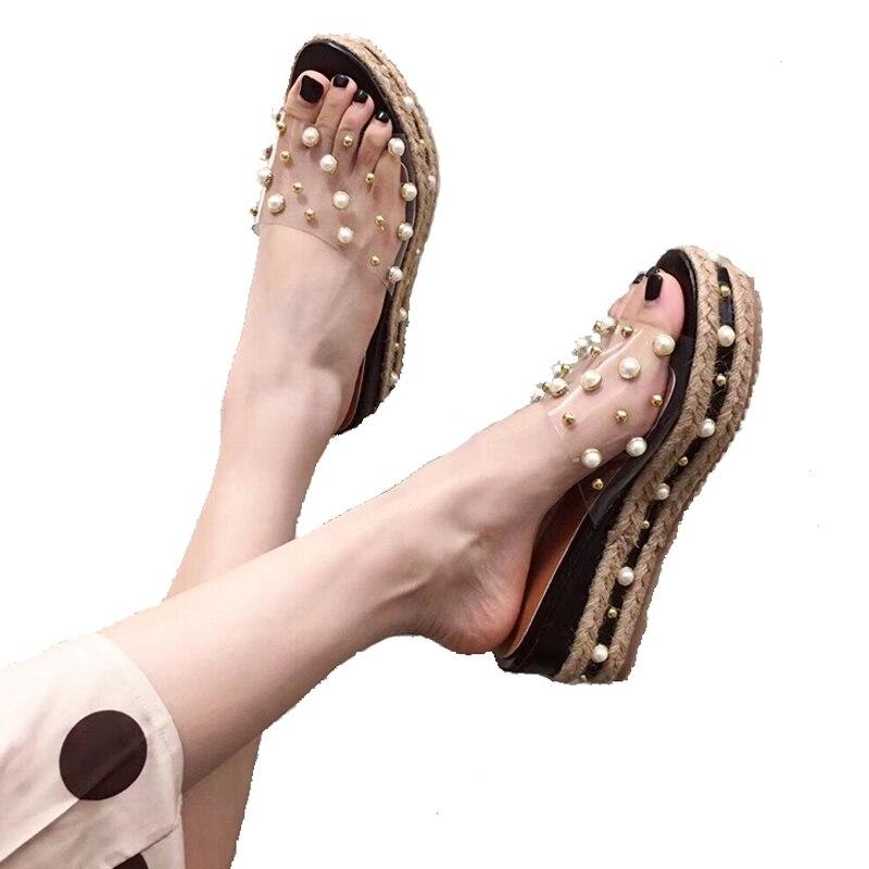Wedge Sandals Rope Platform-Slippers High-Heels Femme Summer Ladies Casual Weaving Leisure