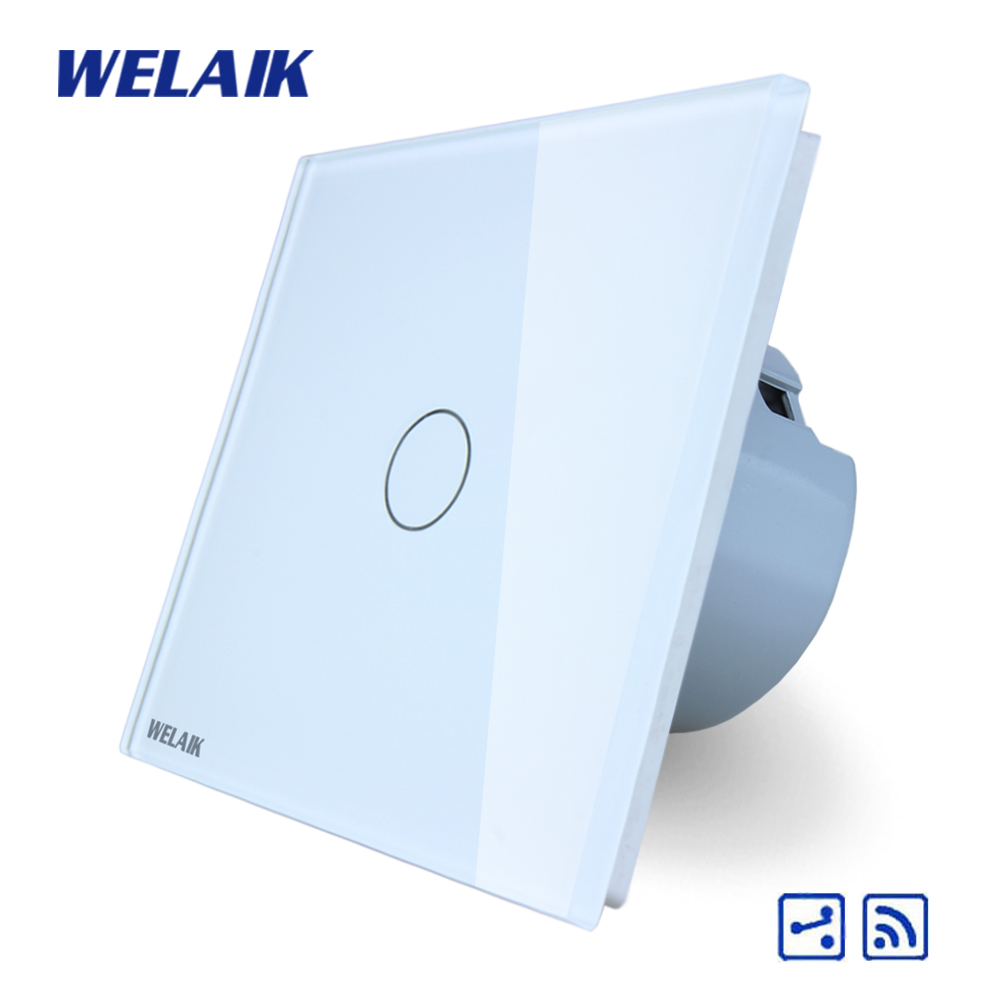 WELAIK Crystal Glass Panel Switch White Wall Switch EU Remote Control Touch Switch Light Switch 1gang2way AC110~250V A1914CW/B wall light touch switch 2 gang 2 way wireless remote control touch switch power for light crystal glass panel wall switch