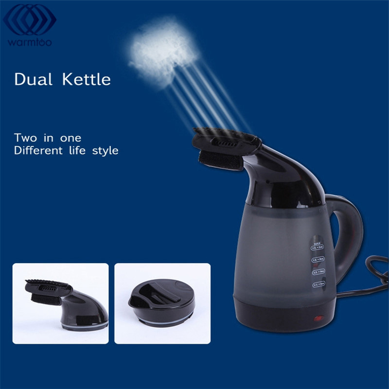 Portable Dual Purpose Electric Kettle Steam Irons 600W 220V 400ml Fast Heating Extreme Heat Water With Two Lid Travel Camp