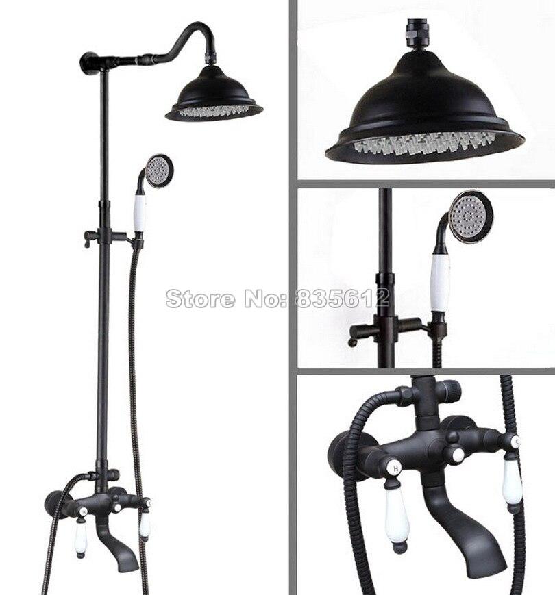 Black Oil Rubbed Bronze Rain Shower Faucet Set Bathroom Wall Mounted Bath Tub Mixer Tap W/ Hold Shower + 8.2 Shower Head Whg642