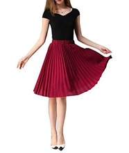 Women's Pleated Chiffon A-line Skirts Knee-length Summer Casual Girls crumpeld pleated elastic waist skirts