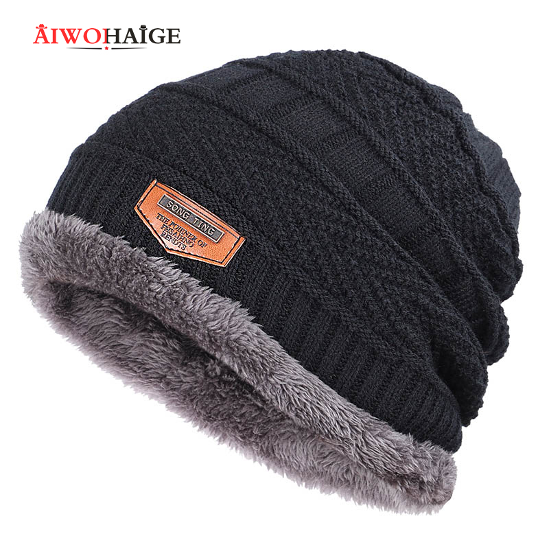 2019 New Brand Solid Color Knit Beanie Hat Men's Winter Hats Boy Warm Plus Velvet Thicken Hedging Cap Skullies Wool Bone Male