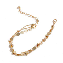 Hot European and American fashion footwear Personality simple retro round sequins beach anklet female