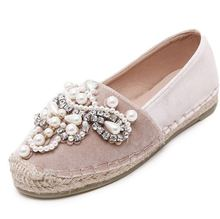 NEW Spring Autumn Women loafer Round Toe espadrilles Pearl Comfortable Hemp Bottom Frisherman Shoes Slip On Zapato Mujer PINK