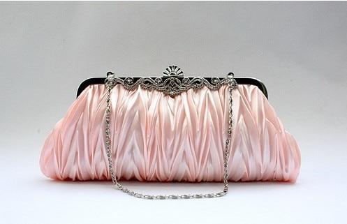 Champagne Chinese Womens Satin Wedding Evening Bag Clutch Banquet handbag Bride Party Purse Makeup Bag 7385-N