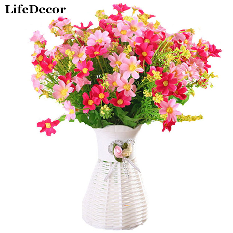 Artificial Flowers for Wedding Decoration 7 Branch Bouquet 28 Silk Flower Heads China Daisy Decorative Grass Plants