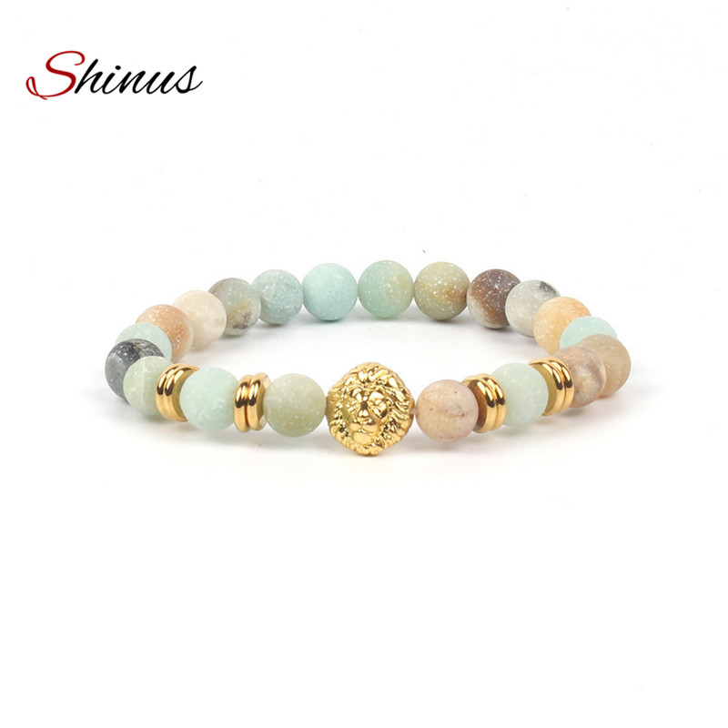 Shinus Bracelets Lion Bracelet Men Women Chakra Jewelry Mala Beads Natural Amazonite Stone Meditation Couple Jewellery Energy