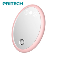 PRITECH Facial Steamer Unique Small Size Rechargeable Makeup Mirror Nano Mist Sprayer Facial Humidifier Steamer Skin Care Mirror