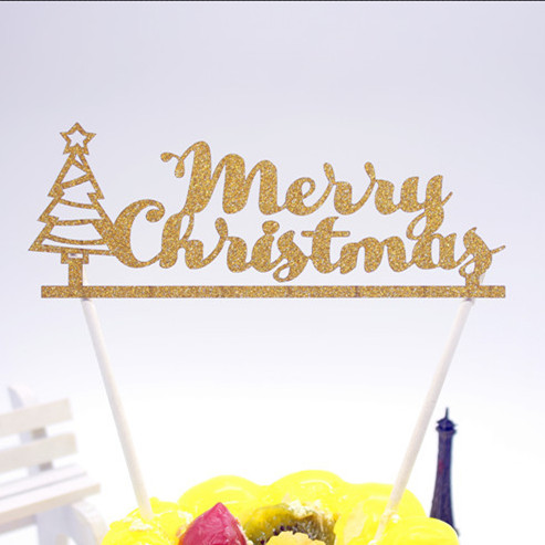 Merry Christmas Cake Flag With Christmas Tree Multi Colors Cake Topper Xmas Cake Flags For Christmas Party Cake Baking Decor