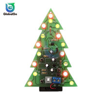 Bricolage arbres de noël RGB LED en trois dimensions 3D arbre de noël Kit de Circuit imprimé Flash coloré Kit d'arbres de noël(China)