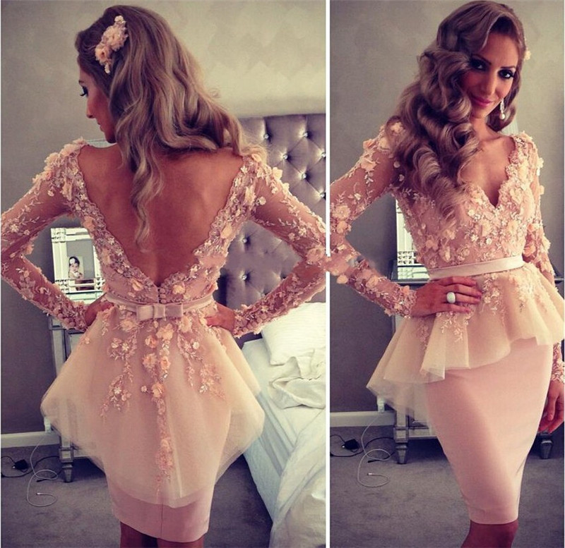 Champagne V Neck Long Sleeves Short   Cocktail     Dresses   2019 Little Flowers Sheath Fitted Sexy Girls Prom   Cocktail   Party   Dresses