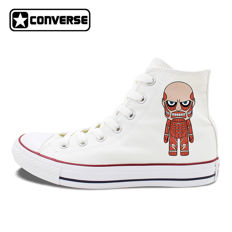 Anime Converse All Star Shoes Attack on Titan Design High Top White Black Canvas Sneakers Flat Skateboarding Shoes anime converse all star skateboarding shoes boys girls pokemon snorlax white black canvas sneakers design 2 colors
