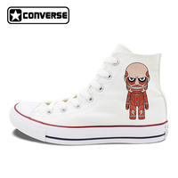 Anime Converse All Star Shoes Attack On Titan Design High Top White Black Canvas Sneakers Flat