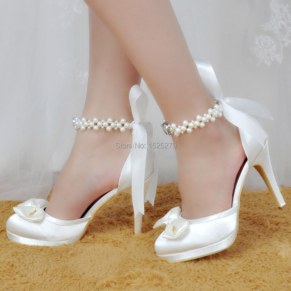 EP11074 PF White Shoes Women Wedding Closed toe High Heel Platform Pumps  Pearls Ankle Strap Satin Bridal Party Evening Shoes-in Women s Pumps from  Shoes on ... b777104f2349