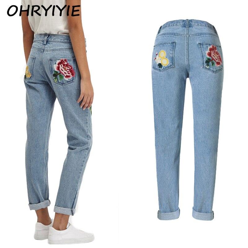 Ohryiyie high waist flower embroidery jeans women spring