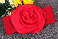 Korean Plain Big Chiffon Flower Elastic Belt For Women White Red Pink Dress Waist Belt Lady Waistband Stretch Dress Adornment