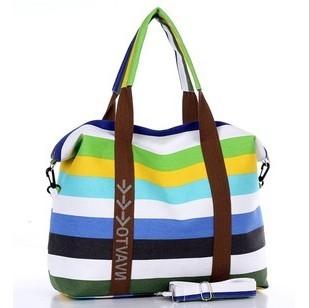 Women's Canvas Slung Women's Shoulder Bag Ladies Beach Handbags Striped Shopping Bag 5