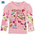 Nova crianças dos miúdos roupas meninas t-shirt de manga longa primavera outono bordados de flores t-shirt das meninas do algodão t-shirt o-pescoço