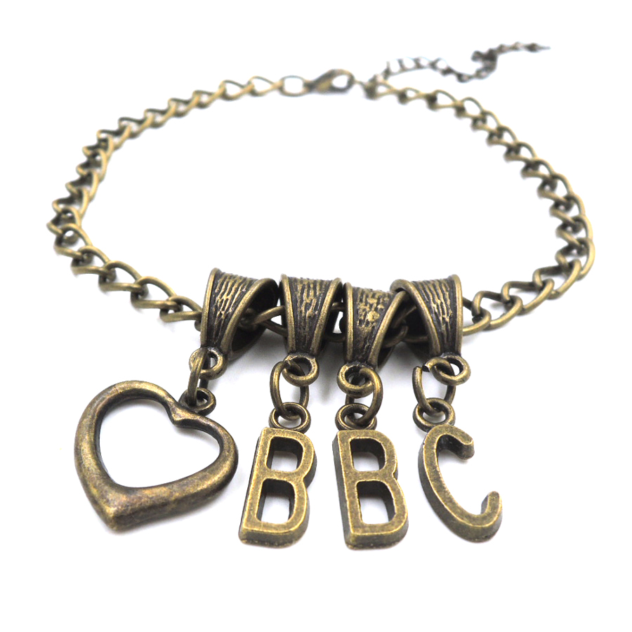 love BBC HEART anklet slave swinger lifestyle jewelry CUCKOLD QUEEN OF SPADES ALPHABET AL003