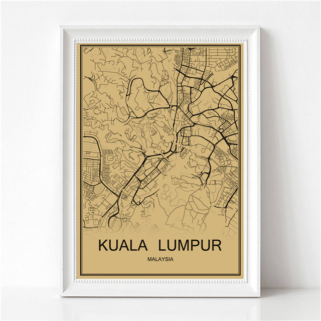 Kuala lumpur vintage poster world map krafts paper retro painting kuala lumpur vintage poster world map krafts paper retro painting art wall picture living room cafe gumiabroncs Gallery