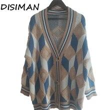 Лучший!  DISIMAN новая мода свитер женский кардиган вязаная зимняя одежда свободные женские топы толстые плюс