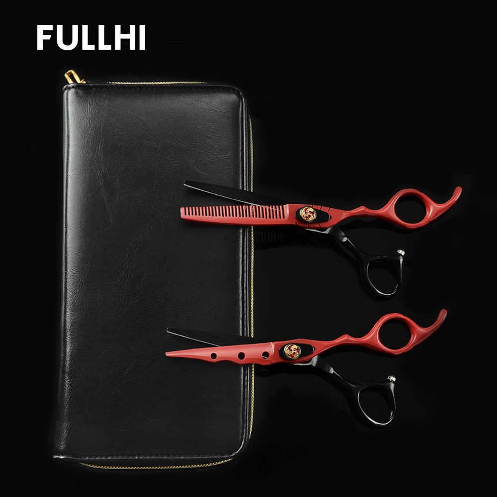 שחור & אדום מספרה מספריים בארבר שיער חיתוך דליל מספריים מזמרה עם עור אחסון מקרה סלון יופי אספקת