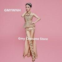 Z36 золотые блестки женское длинное платье юбка в виде хвоста русалки сексуальный женский боди Одежда для пения сценические костюмы Ткань ба