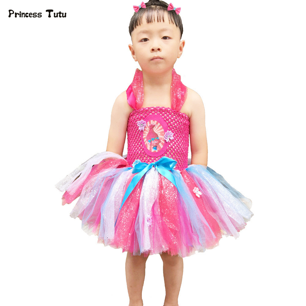 Girls Trolls Tutu Dress For Party Birthday Kids Clothes Children Pageant Ball Gowns Cartoon Cosplay Girls Princess Poppy Costume princess alice inspired tutu dress children knee length character birthday party cosplay tutu dresses kids halloween costume