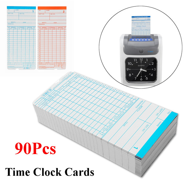 90Pcs/lot Monthly Time Clock Cards For Payroll Recorder Employee