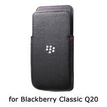جراب هاتف أصلي لبلاك بيري كلاسيك Q20 حافظة جلد طبيعي لبلاك بيري Q20 حقيبة جلدية Fundas فاخرة يدوية