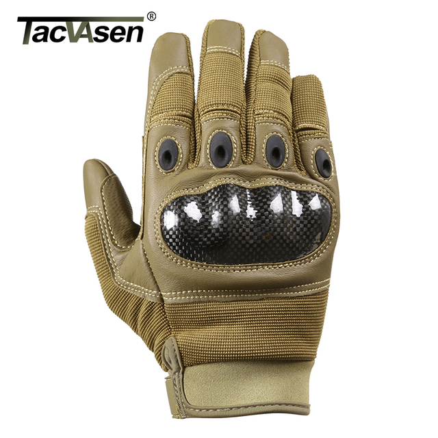 TACVASEN Military Tactical Gloves Men Airsoft Army Combat Gloves Hard Shell Leather Full Finger Shoot Hunt Work Paintball Gloves 3