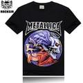 2016 estilo del verano de la camiseta los hombres, 3D Metallica skulls rock camiseta de los hombres, casual guapo camiseta de los hombres, 100% de algodón de manga corta