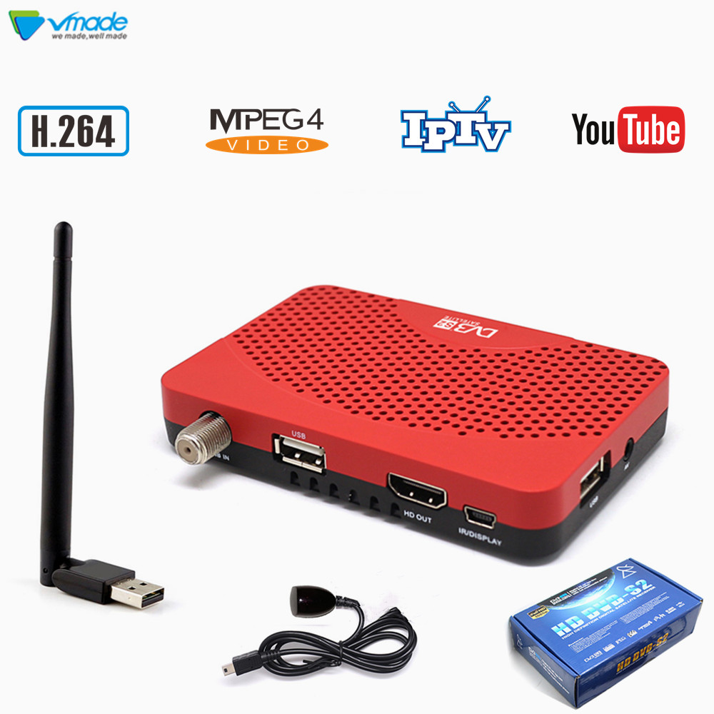Vmade DVB S2 + USB WIFI H.264 Full HD 1080P MPEG4 Digital Satellite TV Receiver Support Youtube Cccam IPTV Stardard Set Top Box