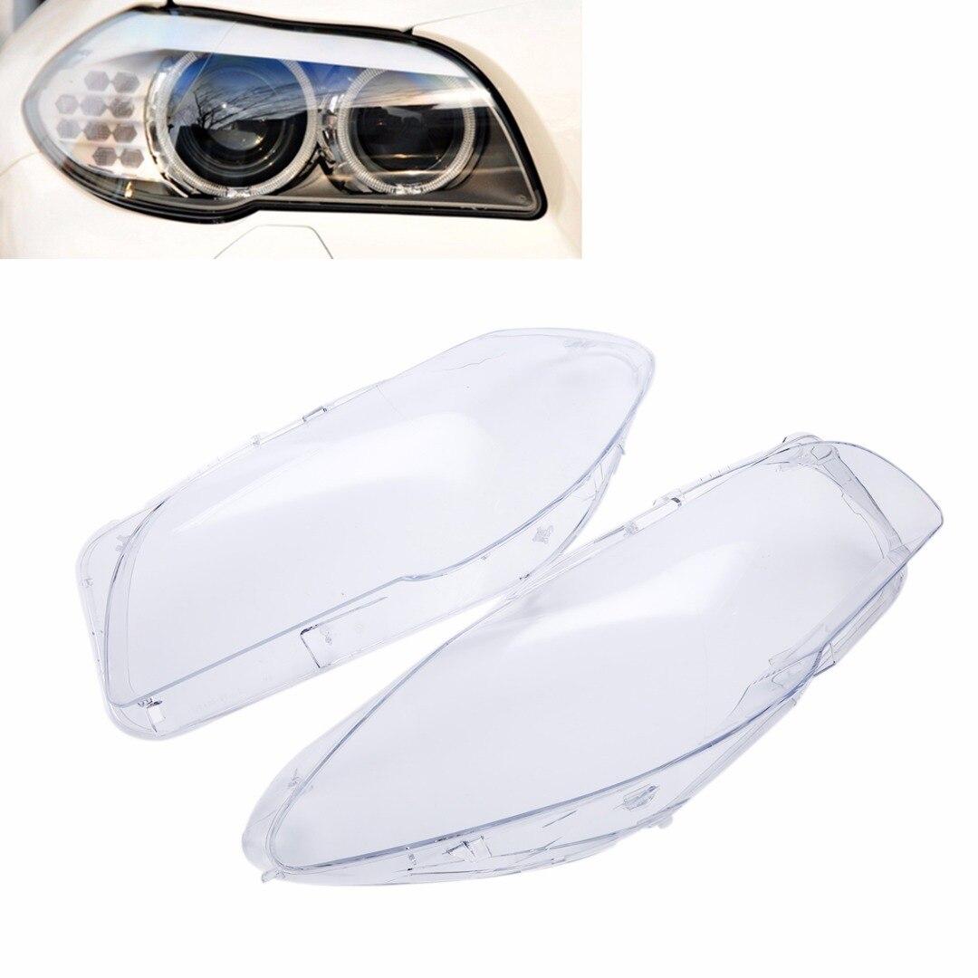 1 paire de Phare De Haute Qualité Couverture De Lentille Claire Avant Gauche + Droite Projecteur Coque Pour BMW F10 F18 2010 2011 2012 2013 2014 2015