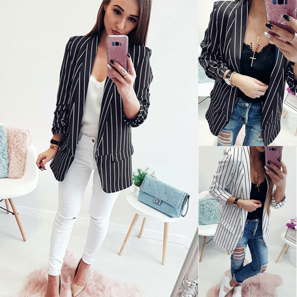 2018 Spring Slim Fit Women Formal Jackets Office Work Open Front Notched Ladies Blazer Coat Hot Sale Fashion Stripe Black White(China)