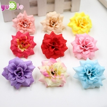 20pcs/lot 4cm Handmade Mini Artificial Silk Rose Flowers Heads DIY Scrapbooking Flower Kiss Ball For Wedding Decorative