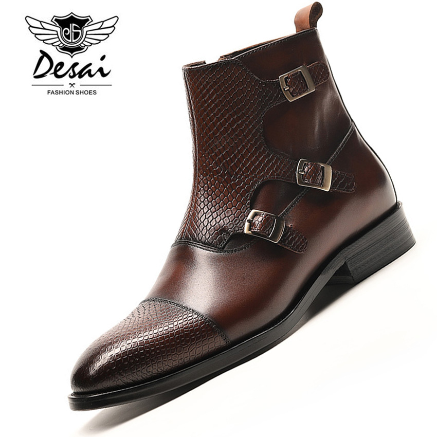 DESAI Luxury Brand Full Grain Leather Business Office Formal Boots Men Fashion High-end British Mens Winter Chelsea Boots MaleDESAI Luxury Brand Full Grain Leather Business Office Formal Boots Men Fashion High-end British Mens Winter Chelsea Boots Male