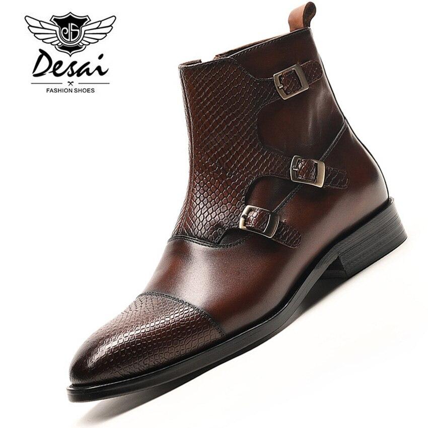 DESAI الفاخرة العلامة التجارية الجلود والحبوب الكاملة الأعمال مكتب الرسمي الأحذية الرجال الأزياء الراقية البريطانية الرجال الشتاء تشيلسي الأحذية الذكور-في أحذية تشيلسي من أحذية على  مجموعة 1