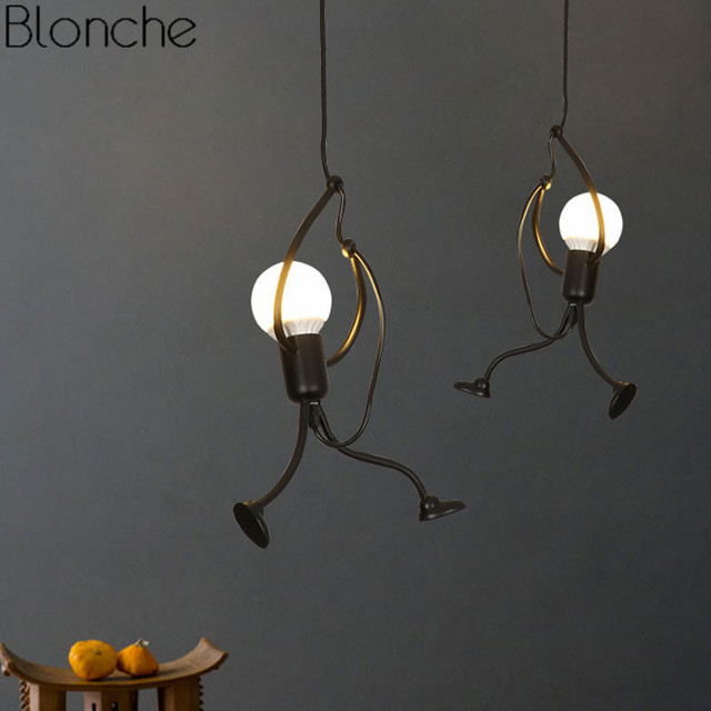 Nordic Led Pendant Lights Fixtures Human Shade Industrial Hanging Lamp for Kitchen Living Room Luminaire Home Decor Black Iron
