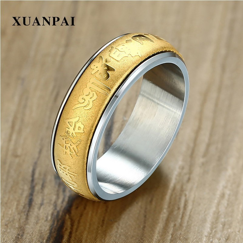 Stainless Steel Buddhist Gold Spinner Lucky Finger Ring Jewelry Gift Fashion US