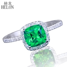 HELON 6x6mm Cushion 0.8ct Treated Emerald Solid 10K White Gold Diamonds Ring Diamond Engagement Wedding Ring For Women's Jewelry