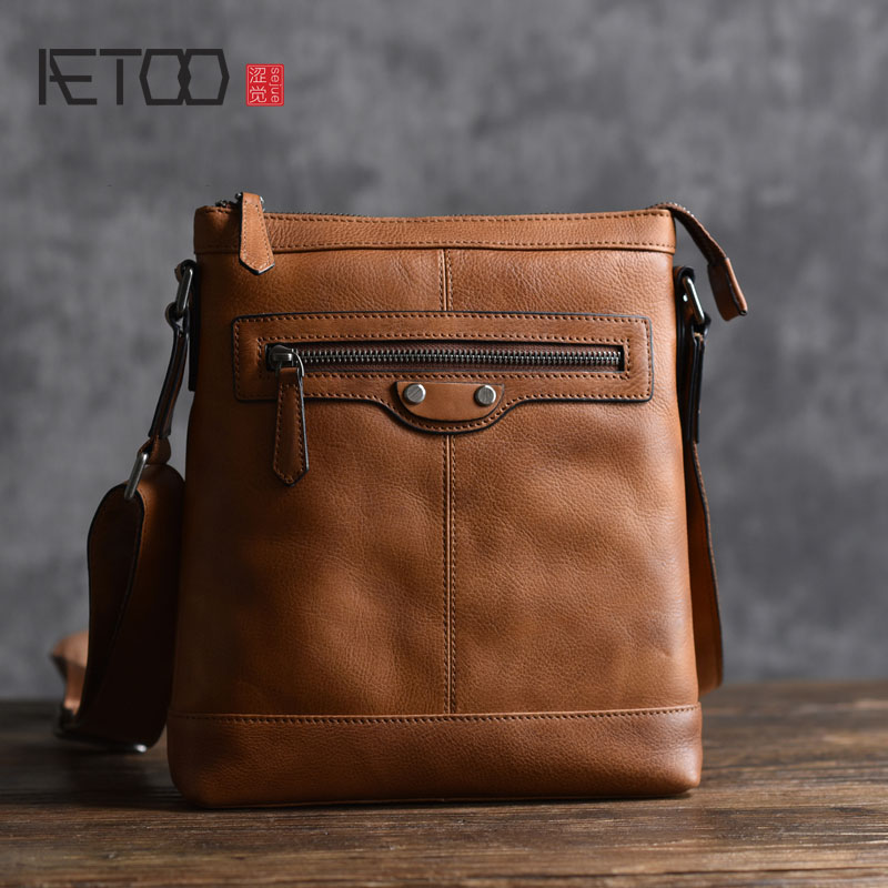 AETOO New men's leather shoulder bag first layer cowhide Japanese and Korean version of leisure diagonal cross bag quality rub qiaobao 2018 new korean version of the first layer of women s leather packet messenger bag female shoulder diagonal cross bag
