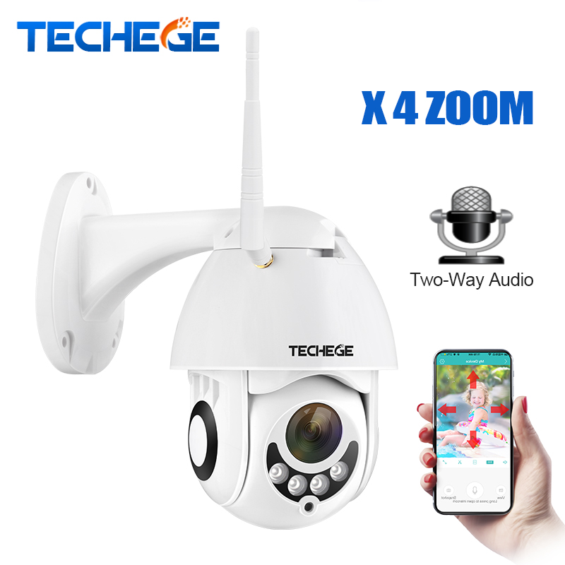 Techege 1080P Wireless IP Camera Two Way Talk 2MP Wifi Security CCTV PTZ Camera 4X Optical Motorized 2.8-12mm Auto Zoom TF Slot electrical equipment aot500 optical talk set two parts communication 120km dynamic range 1310