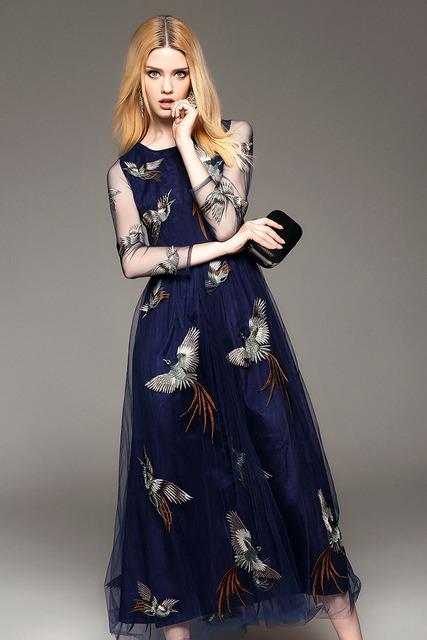 Phoenixs Embroidery Layered Runway Dresses