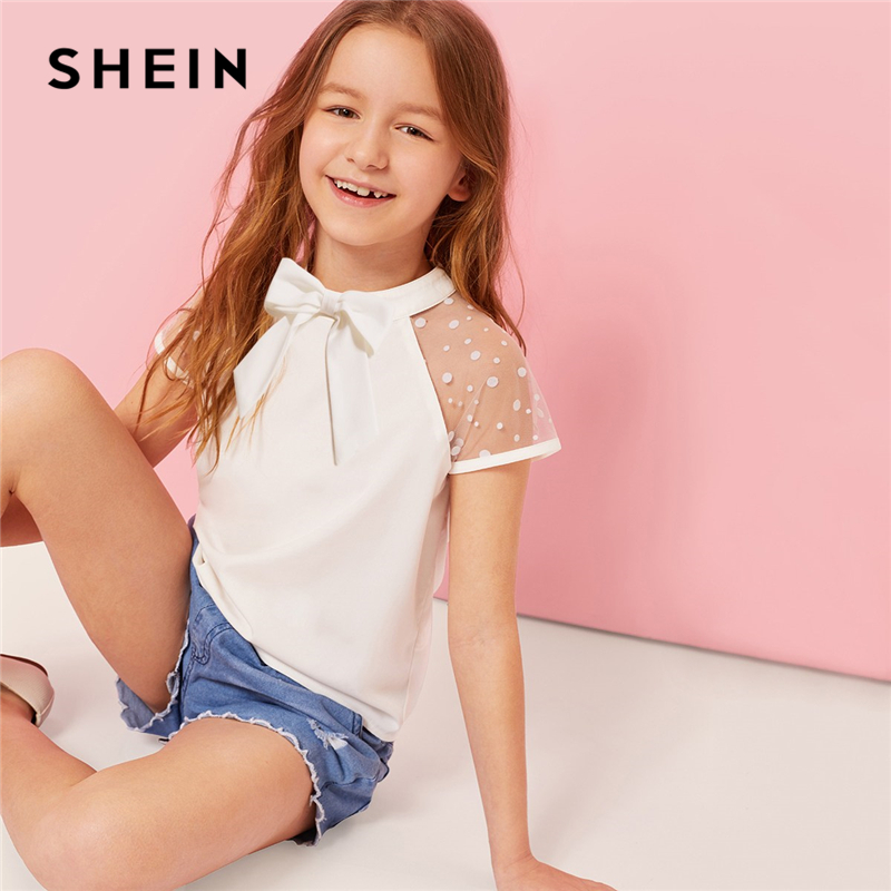 SHEIN Kiddie White Stand Collar Bow Front Sheer Cute Blouse Kids Top 2019 Summer Dot Mesh Sleeve Button Casual Blouses For Girls sweet stand collar long sleeve waist tied flare blouse for women
