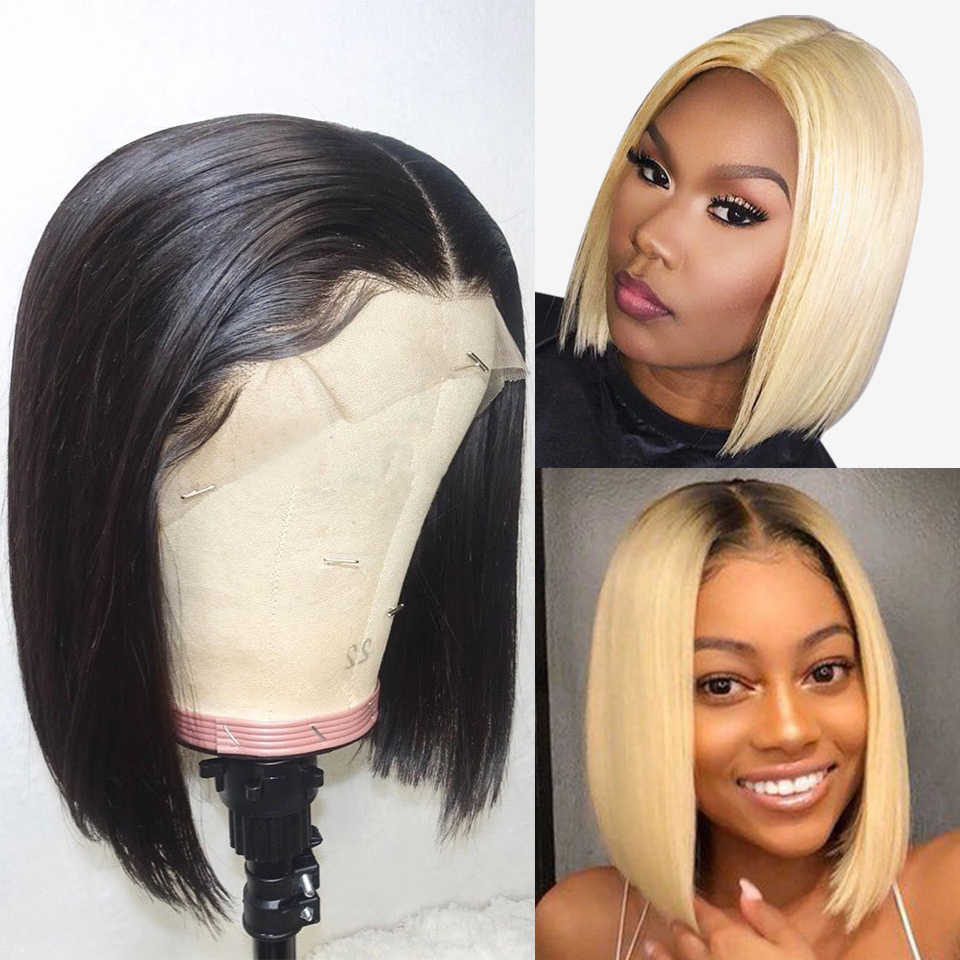 13x6 613 Blonde Short Bob Wigs Brazilian Straigh 1b 613 Lace front wig Ombre Remy Human Hair Wigs For Black Women Natural colors