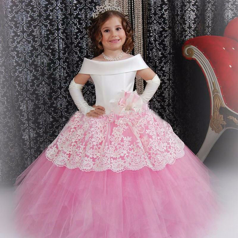 2017 Vintage Flower Girl Dresses White Satin Pink Puffy Toddler Ball Gown Communion Girl Frock Design