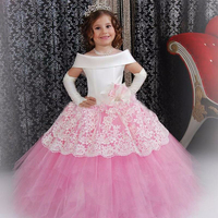 2017 Vintage Flower Girl Dresses White Satin Pink Puffy Toddler Ball Gown Communion Girl Frock Design Abiti Da Comunione Vestido